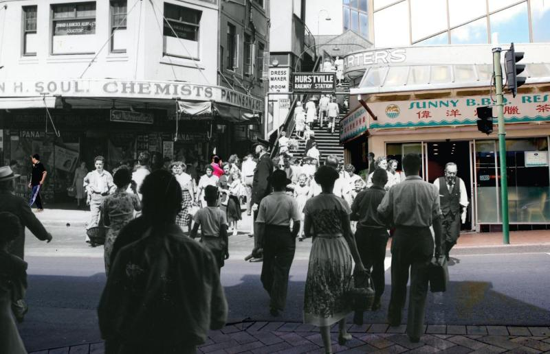 Combined image Forest Road, c. 1952 and 2015. Image courtesy of Hurstville City Library Museum & Gallery collection.