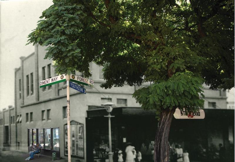 Combined image, corner of Forest Road and Diment Way, Hurstville, c.1930 and 2015. Image courtesy of Hurstville City Library Museum & Gallery collection