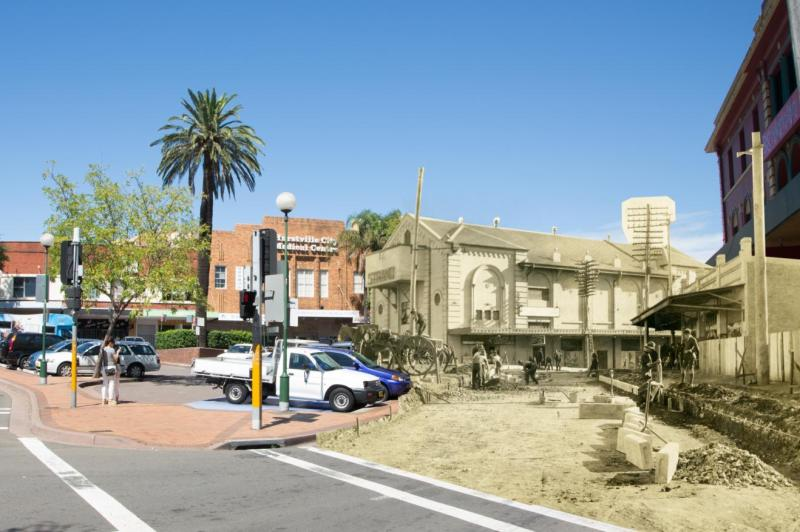 Combined image, corner of Forest Road and Treacy Street, Hurstville,  1926 and 2015. Images courtesy of Hurstville City Library Museum & Gallery collection