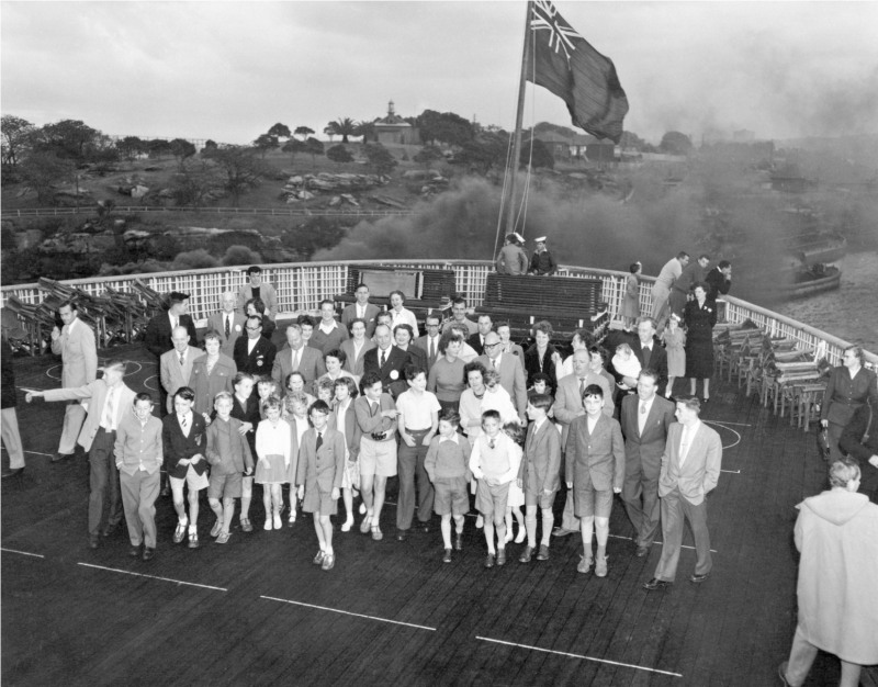 Immigration - The 'Bring Out A Briton' (BOAB) migration scheme - The orient liner ORSOVA became the Rotary Ship early in 1958 when she brought to Australia 215 British migrants nominated by Australian Rotary Clubs. There were 56 families in the party. 26 families went to Queensland, 11 to Victoria, 9 to Western Australia, 7 to New South Wales, 2 to South Australia and one to Tasmania. At Melbourne, the Commonwealth Minister for Immigration, Mr A R Downer, boarded the ORSOVA in Port Philip Bay to welcome the migrants, while the NSW governor of Rotary, Dr G Howe, welcomed them at Sydney. The ship arrived at Sydney on April 24 [photographic image] / photographer, Don Edwards. 1 photographic print